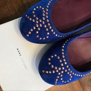 Marc Jacobs Blue Suede Ballet Bow Flats- 7.5